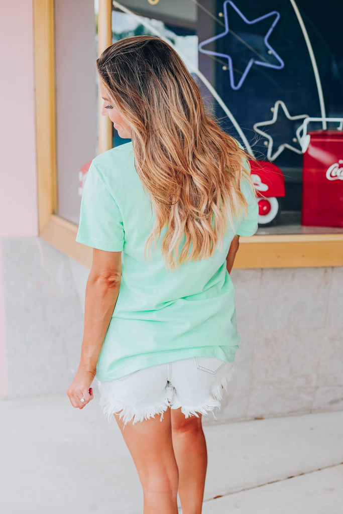 Count Blessings Not Calories Graphic Tee - Mint