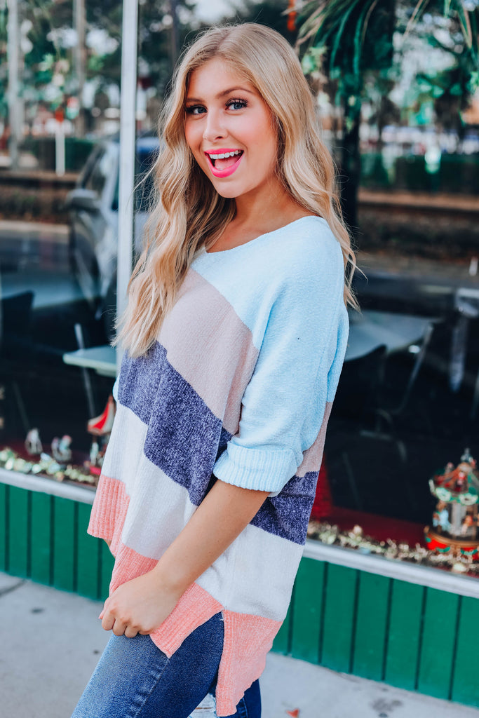 This Is Love Color Block Sweater - Light Blue