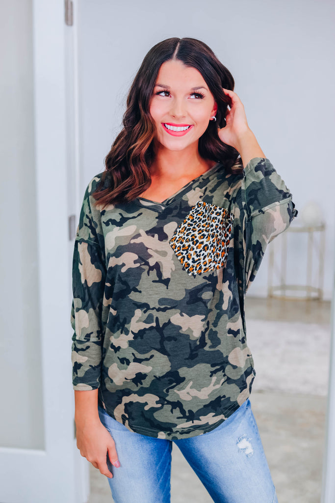 Feeling Heartless Camo Top
