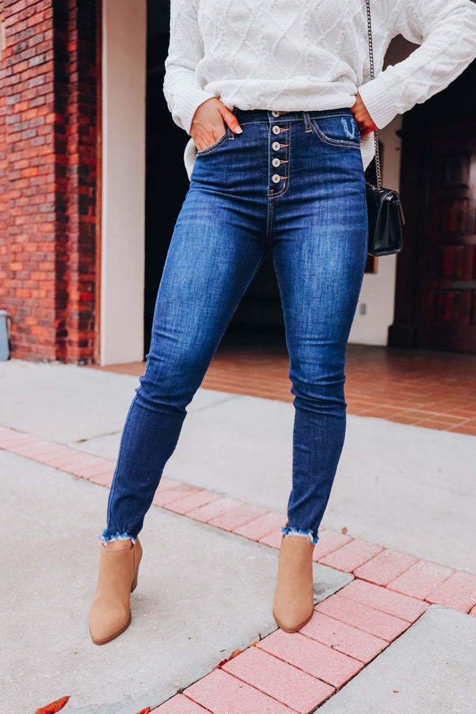 Eva High Waist Skinny Jeans Dark