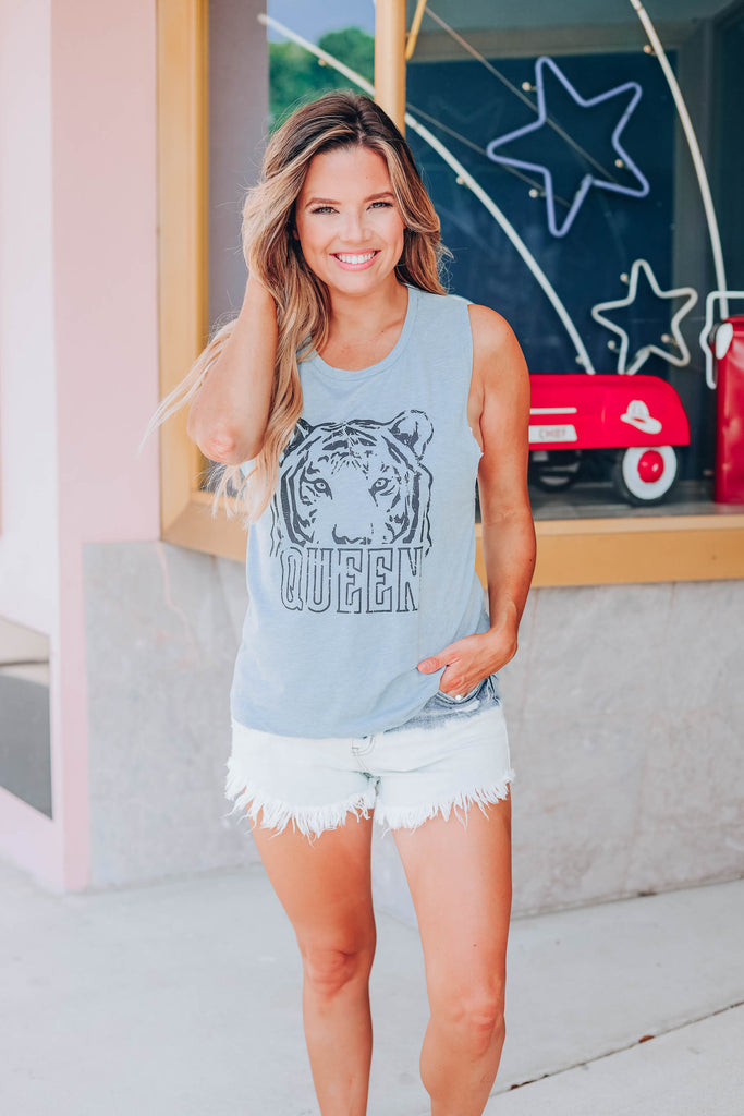 Tiger Queen Graphic Tank - Light Blue