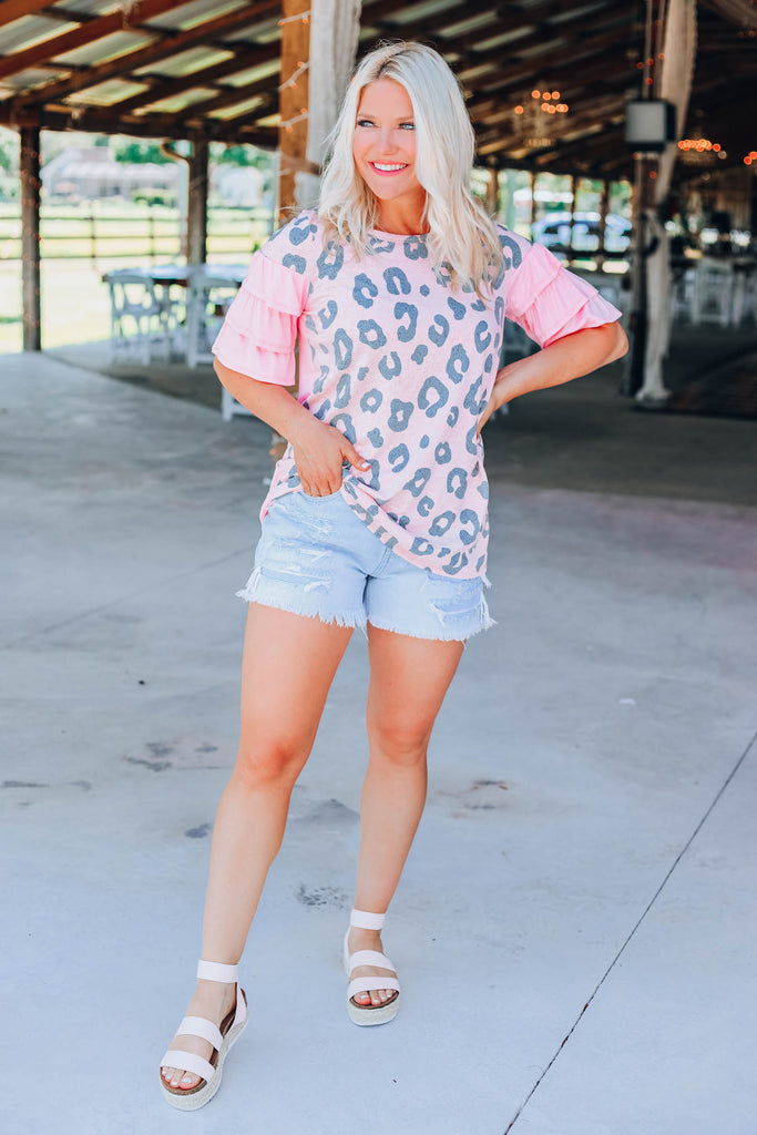 Blushing Leopard Top