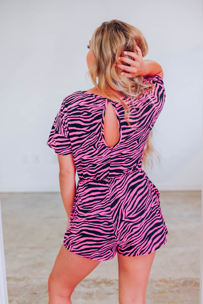 Using You Zebra Romper - Pink