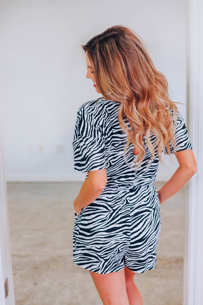 Using You Zebra Romper - White