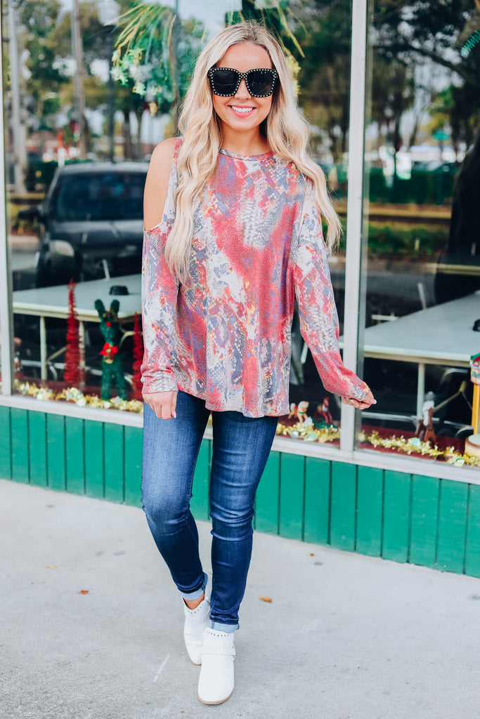 Animal Print Cold Shoulder Top - Wine