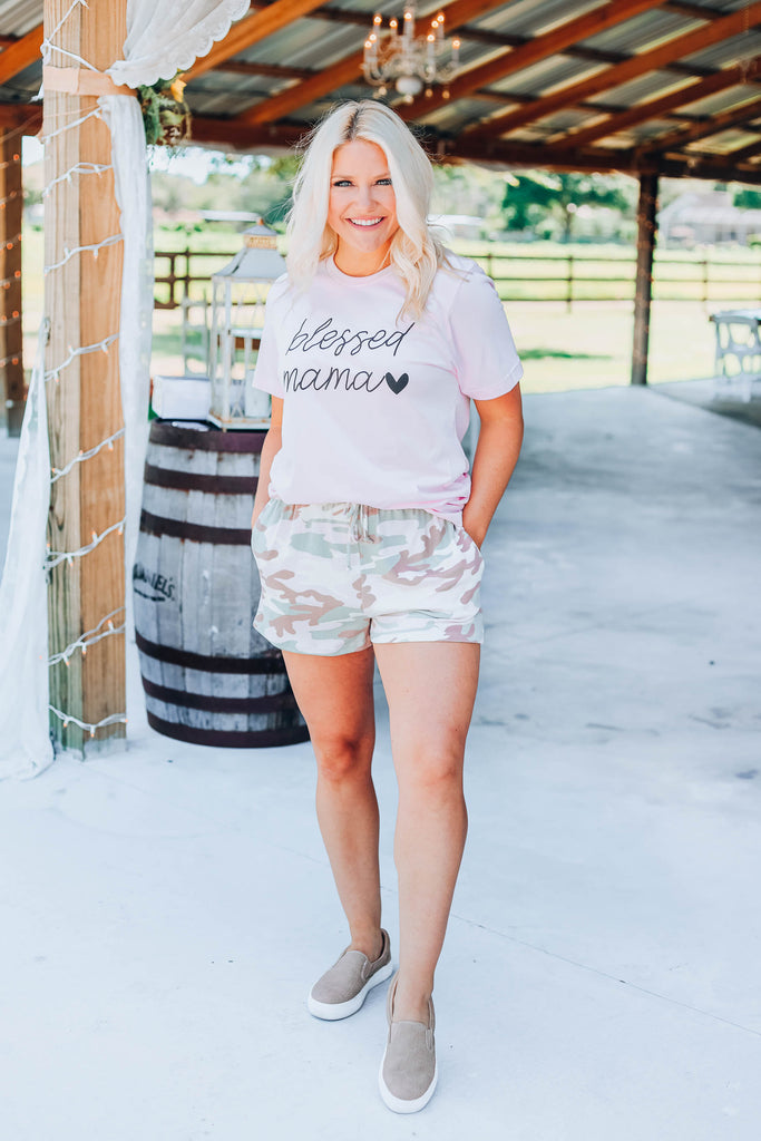Blessed Mama Graphic Tee - Pink