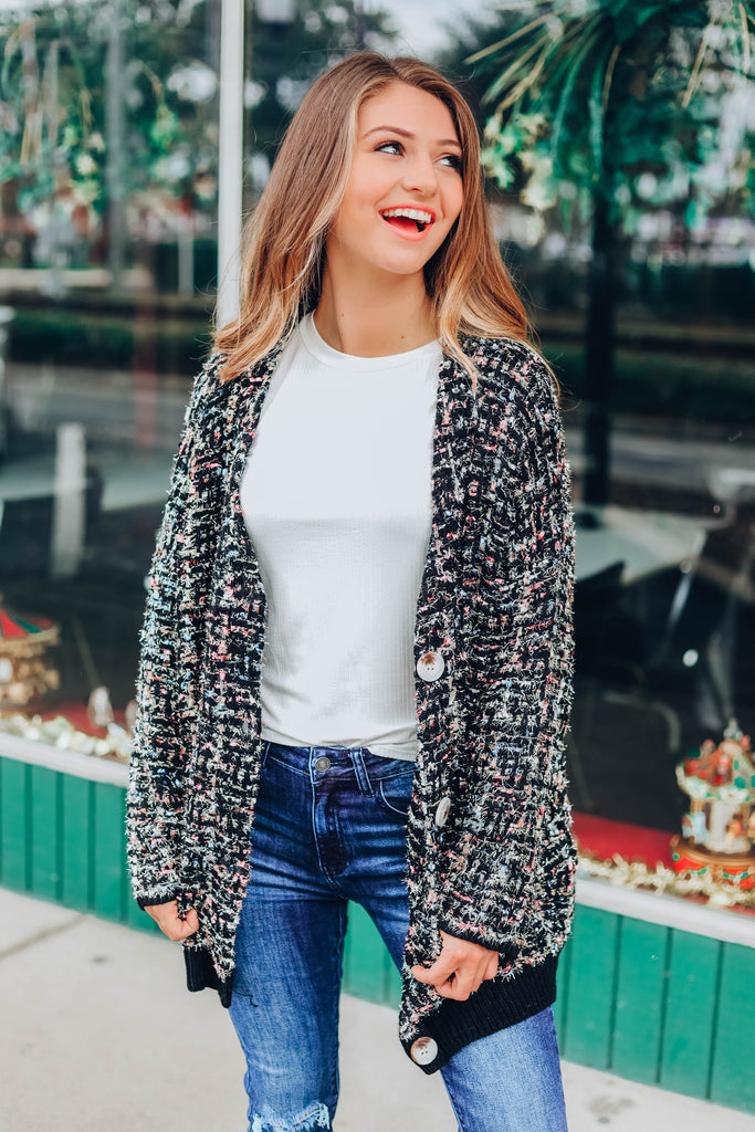 Multi Color Speckled Cardigan - Black
