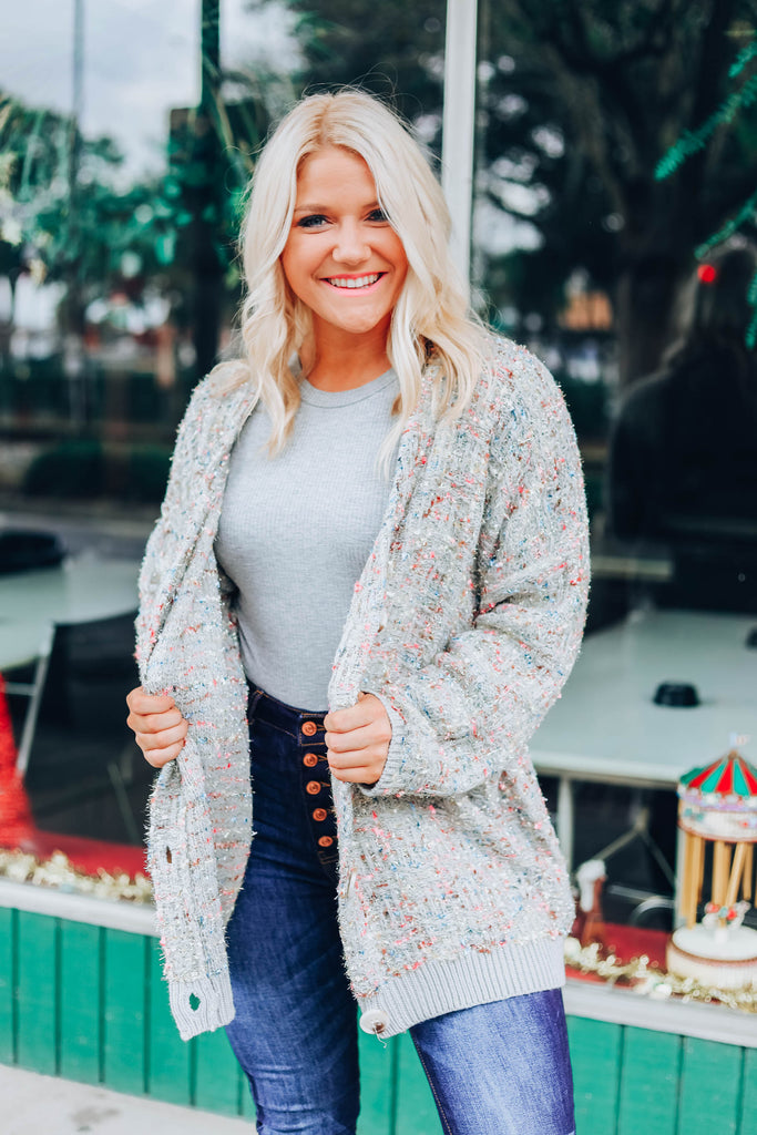 Multi Color Speckled Cardigan - Grey Violet