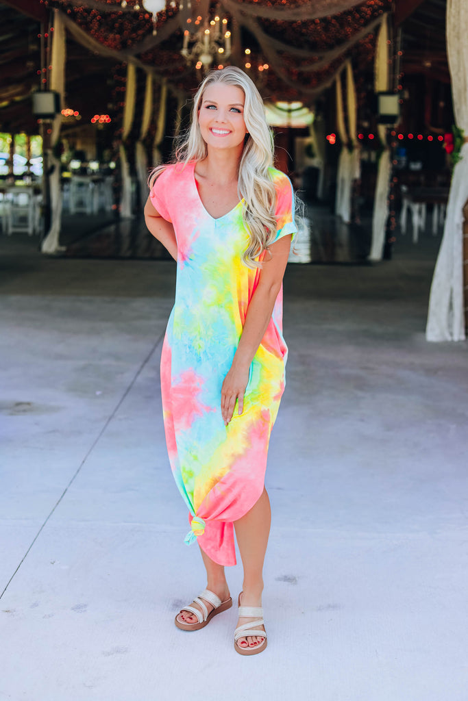 Lively Tie Dye Maxi Dress - Yellow/Blue