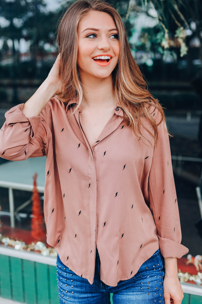 Lightning Button Down Top - Mocha