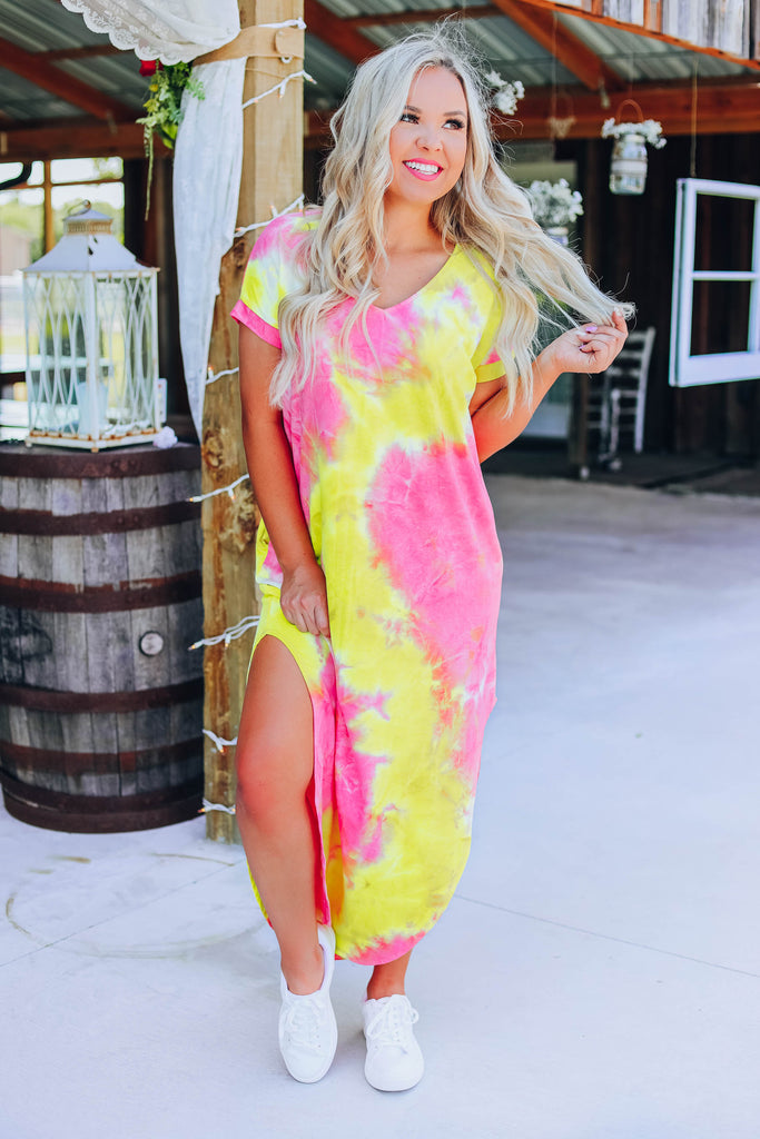 Lively Tie Dye Maxi Dress - Yellow/Pink