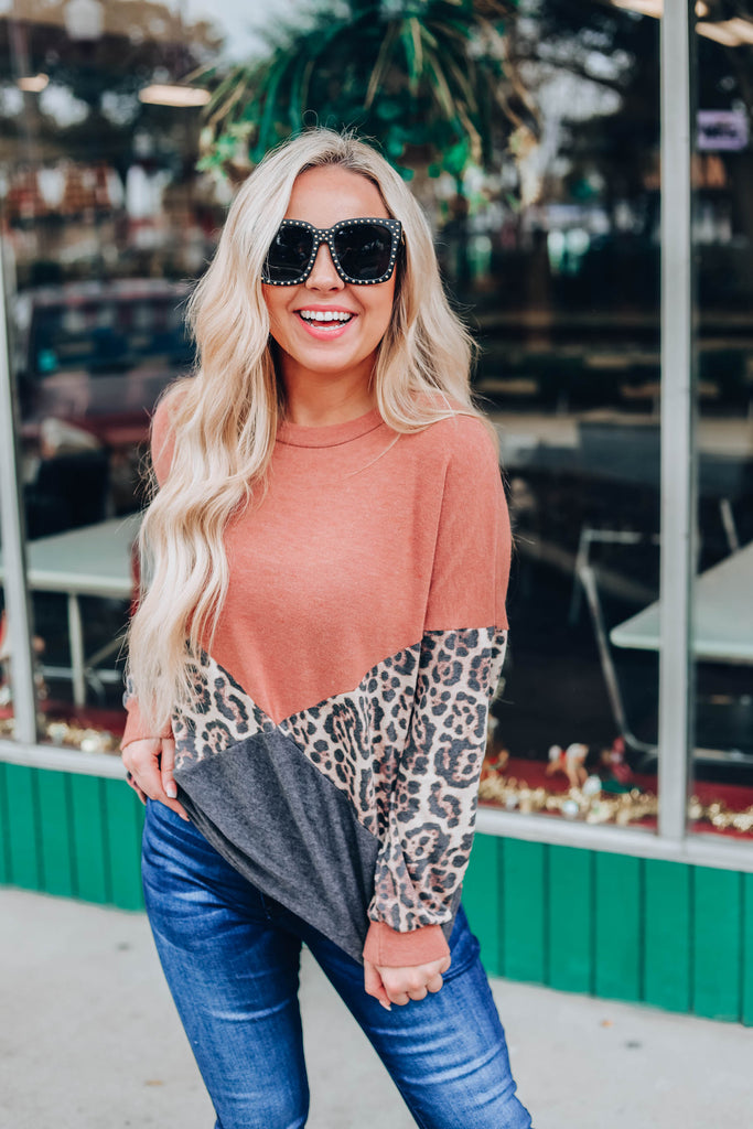 Precious To My Heart Top - Rust Pink