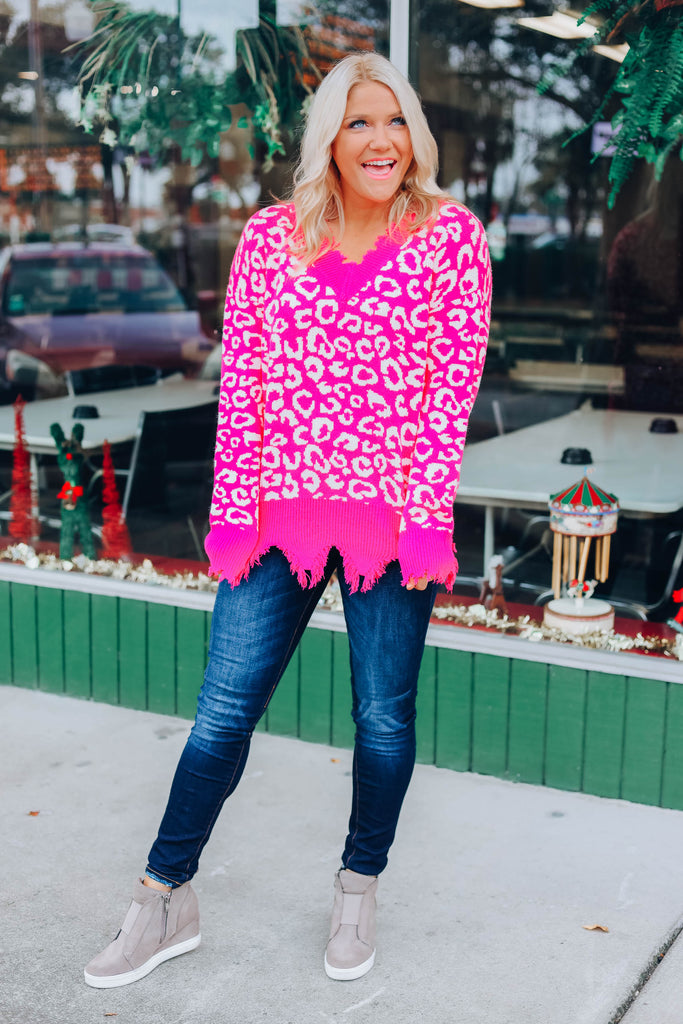 Hot Pink Leopard Distressed Sweater