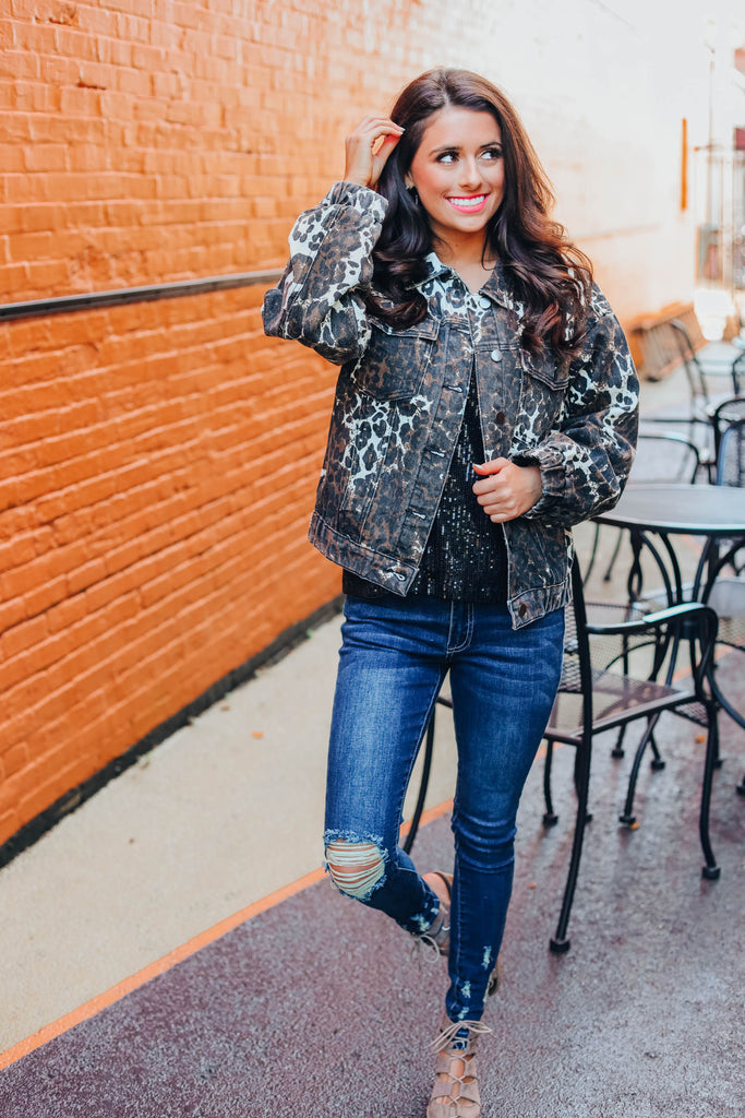 Losing Me Leopard Denim Jacket