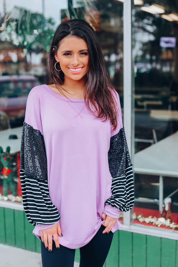 Fall In Line Top - Dusty Lavender