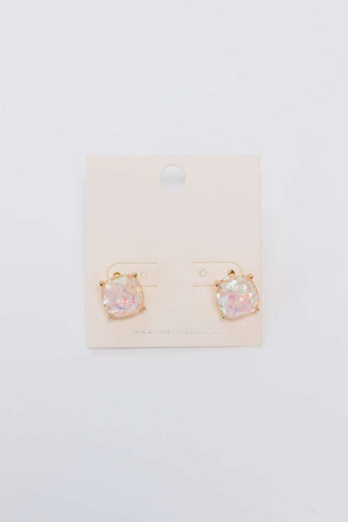 White Glitter Stud Earrings