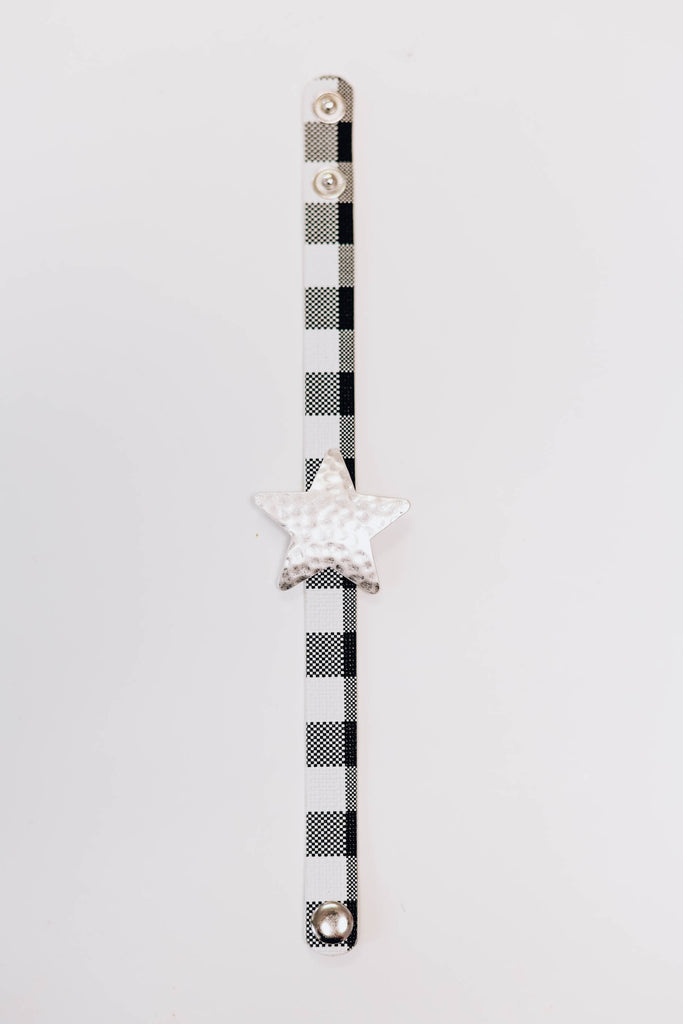 Star Checkered Bracelet - Silver White