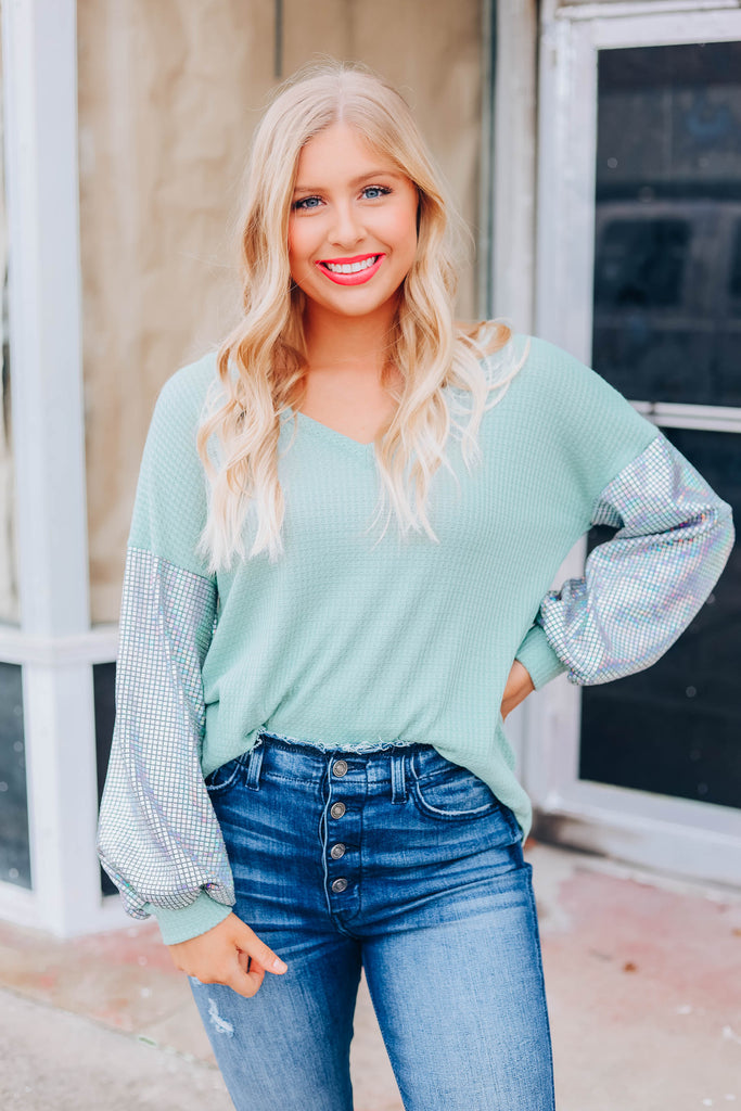 Disco Barbie Sequin Top - Sage