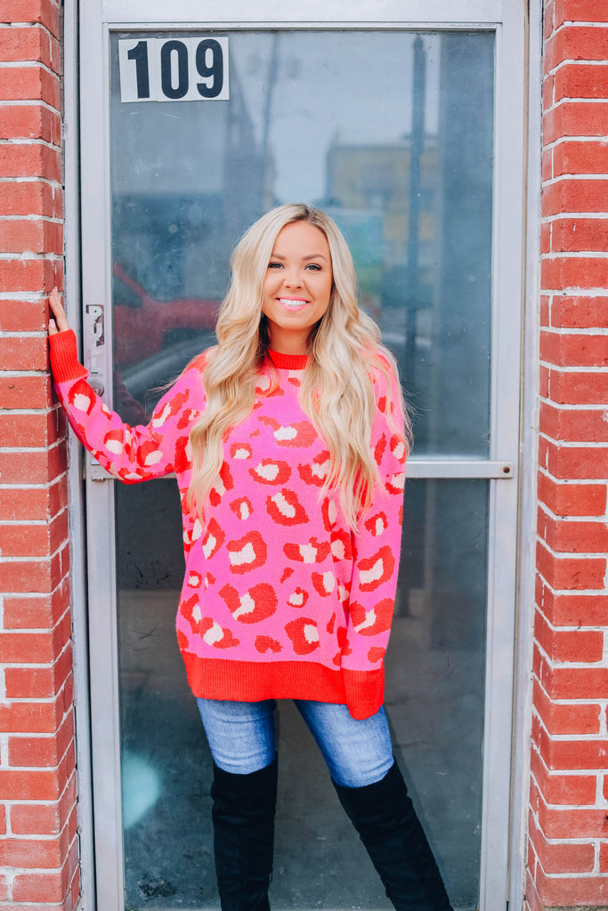 Red Hearts Leopard Sweater - Pink Combo