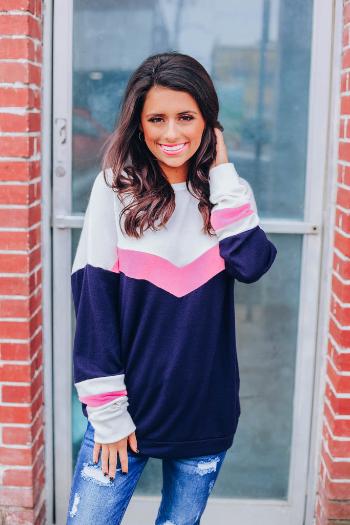 Cozy Chevron Pullover - Navy