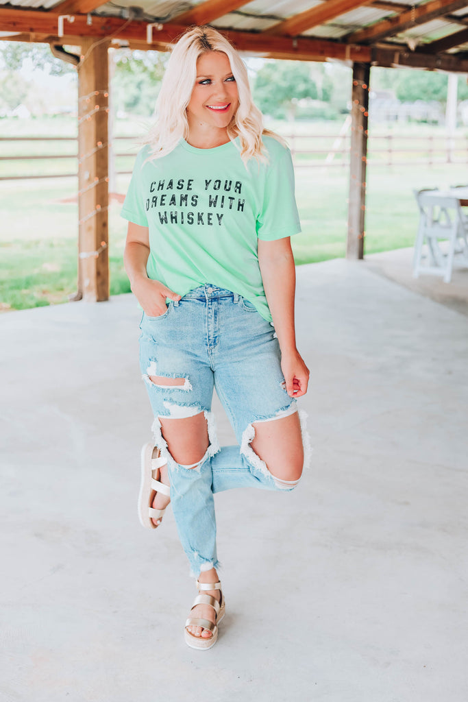 Chase Your Dreams Graphic Tee -  Mint
