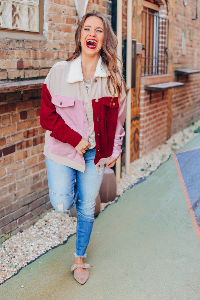 On The Go Corduroy Jacket - Burgundy
