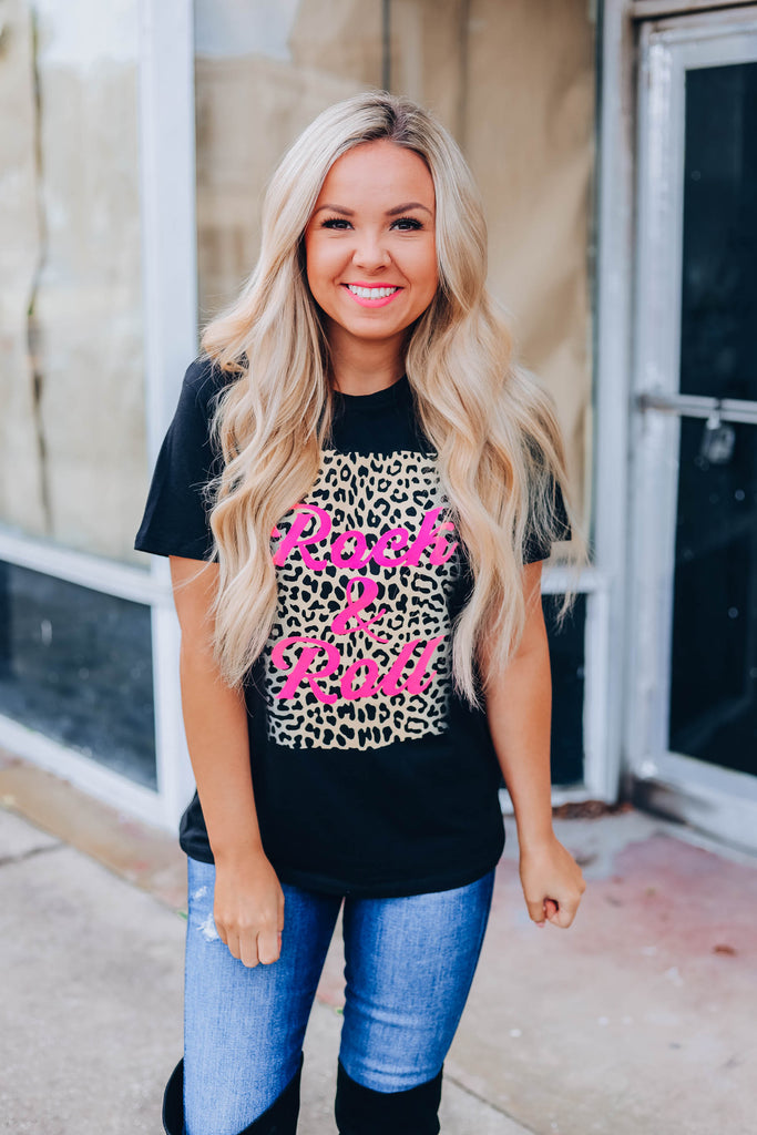 Rock N Roll Leopard Graphic Tee - Black