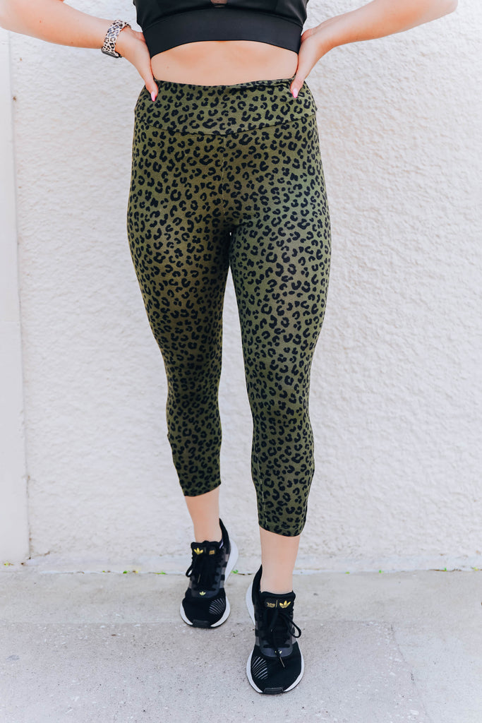 Leg Day Leopard Leggings - Olive