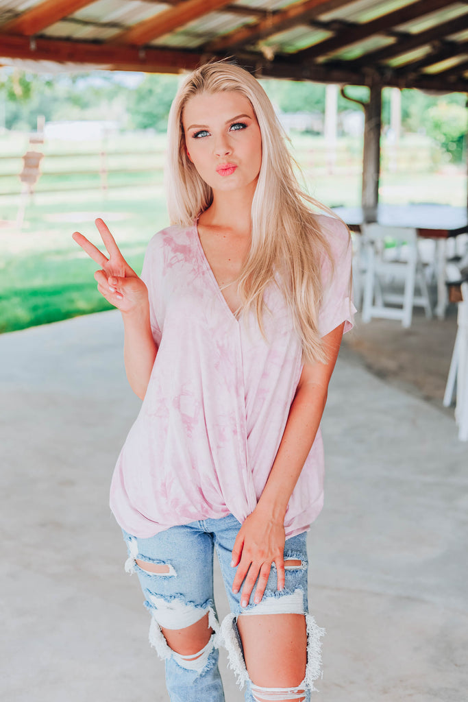 Cloudy Skies Tie Dye Top - Lilac