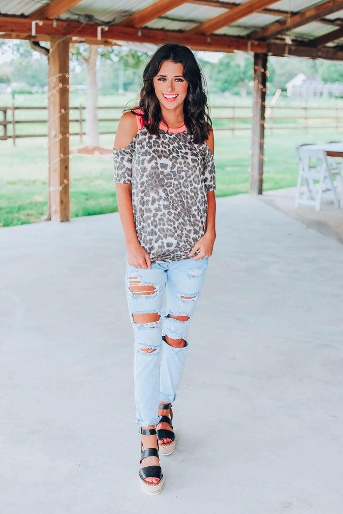 Neon Leopard Cold Shoulder Top
