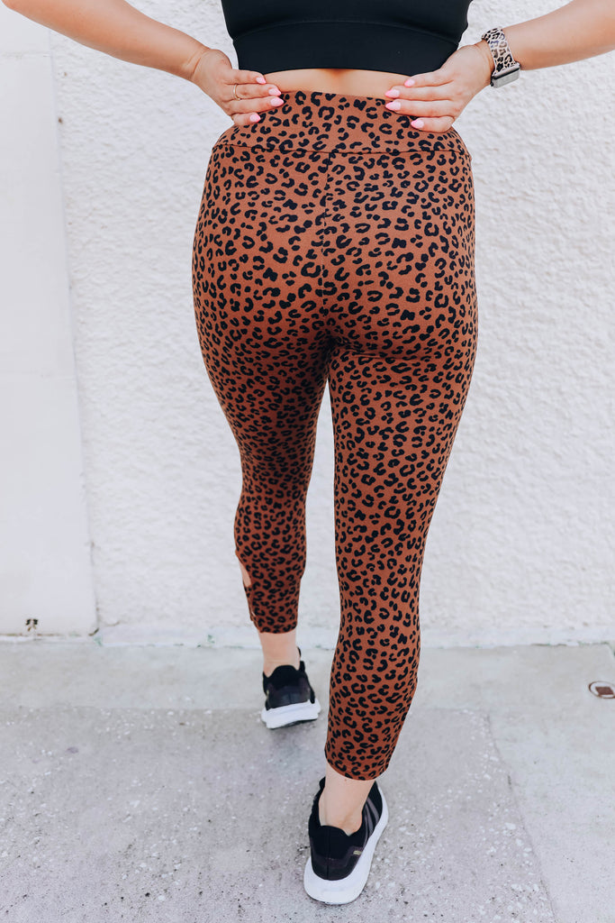 Leg Day Leopard Leggings - Brown