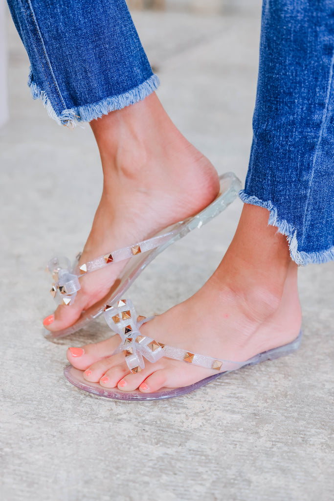 Morgan Studded Sandals - Silver