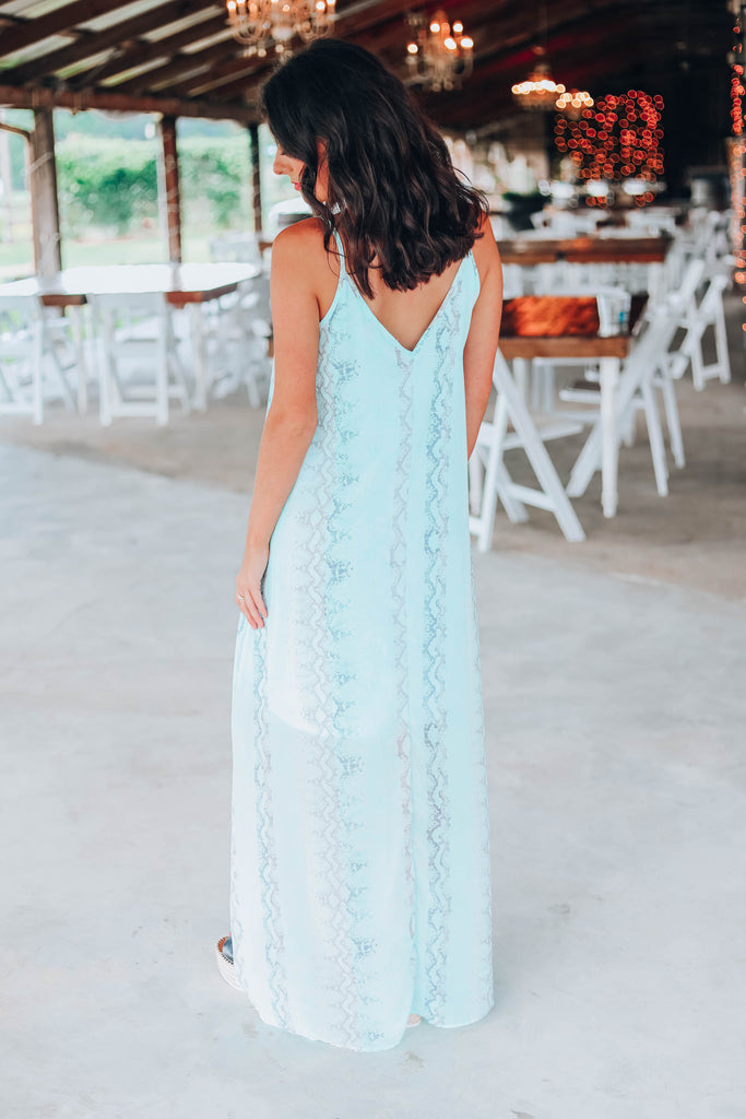 I Believe In You Sleeveless Snakeskin Maxi Dress