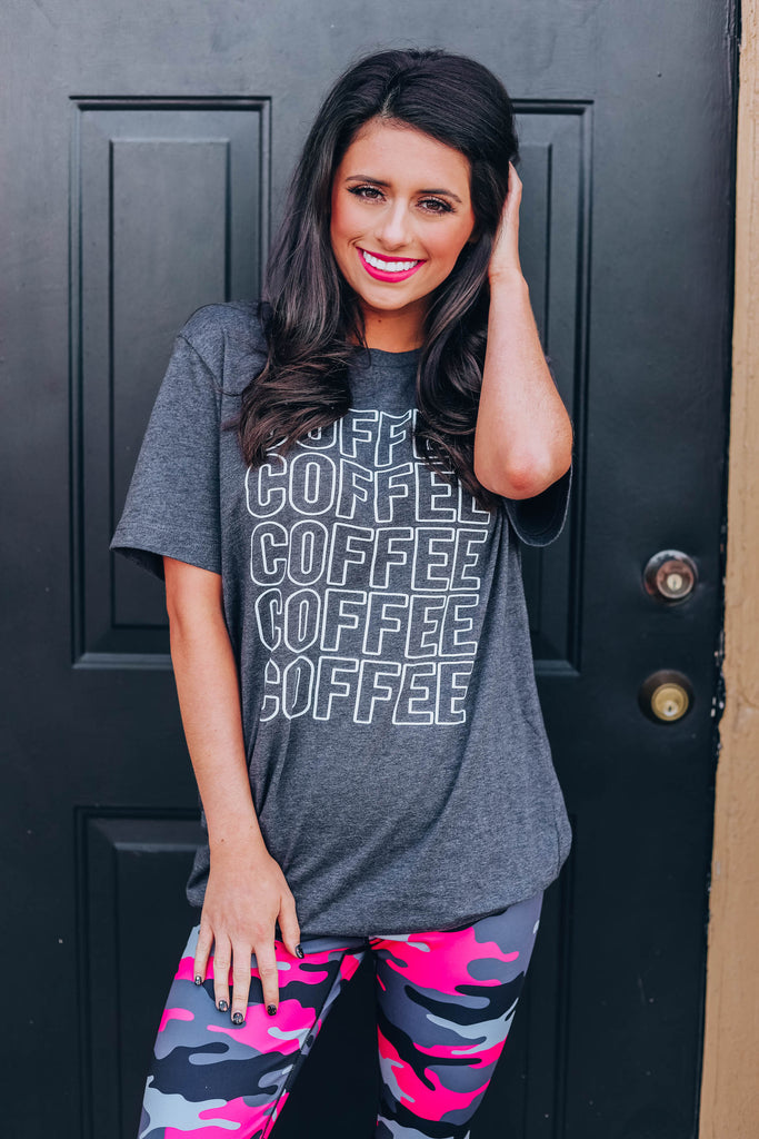 Coffee Coffee Graphic Tee - Charcoal
