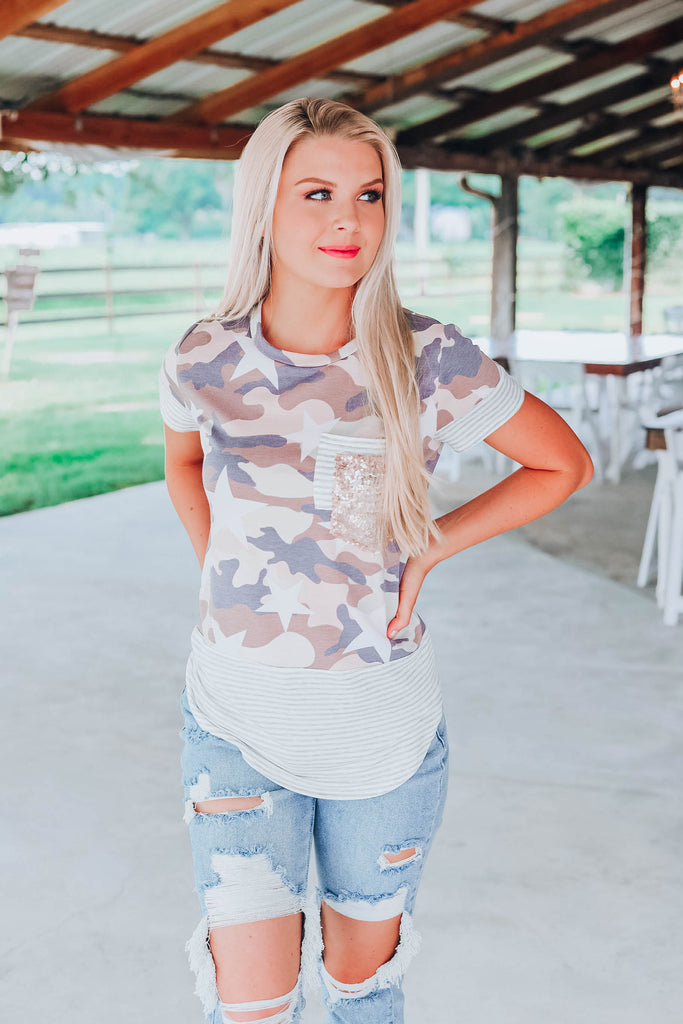 Camo Up With Stars and Stripes Top