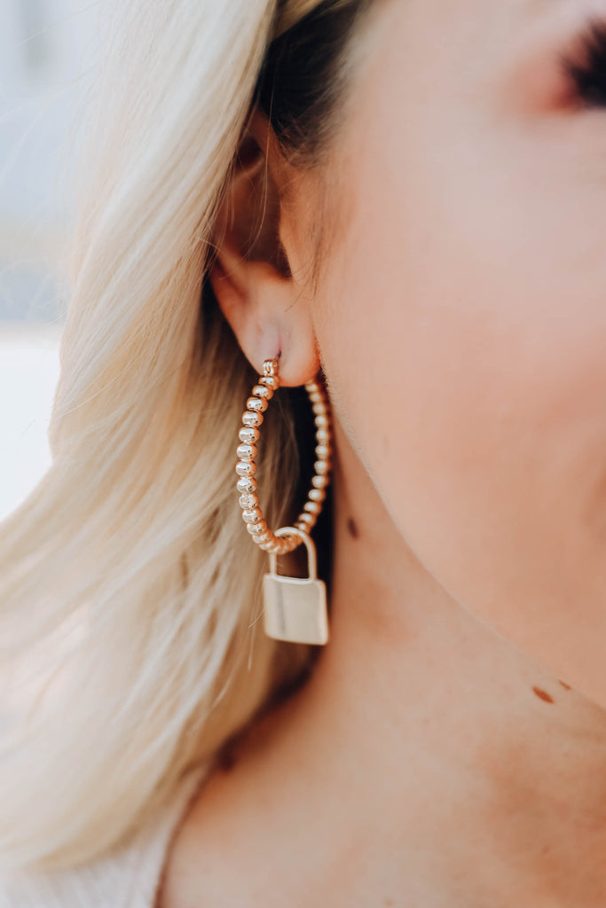 Roma Lock Hoop Earrings - Gold