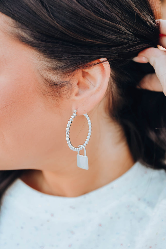 Roma Lock Hoop Earrings - Silver