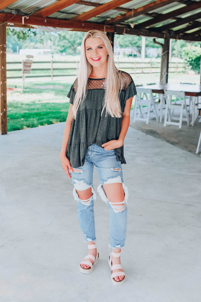 Giving Your All Baby Doll Top - Charcoal