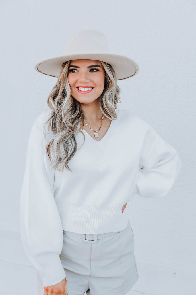 Concord Cropped Sweater - White
