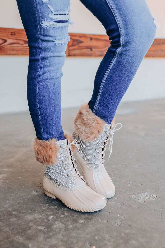 Diamonte Fur Duck Boot - Nude