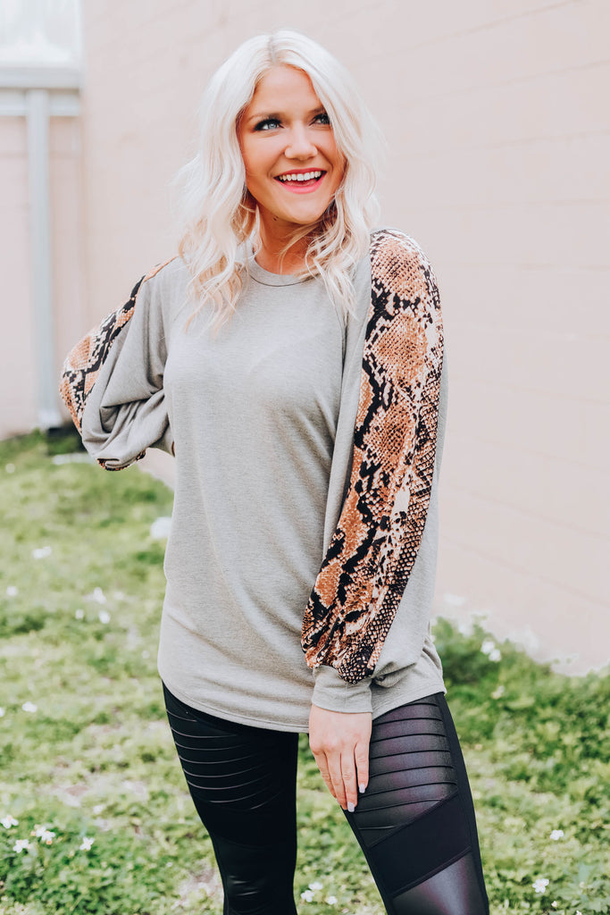 French Terry Snakeskin Top -  Brown