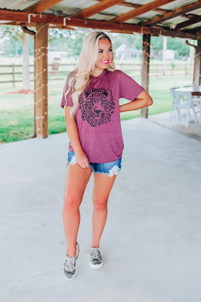 Fierce Tiger Tee - Plum
