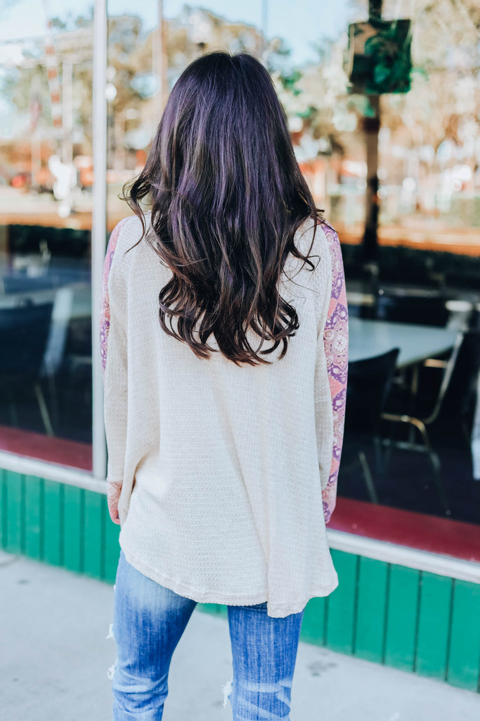 Flirty Flowing Top - Oatmeal