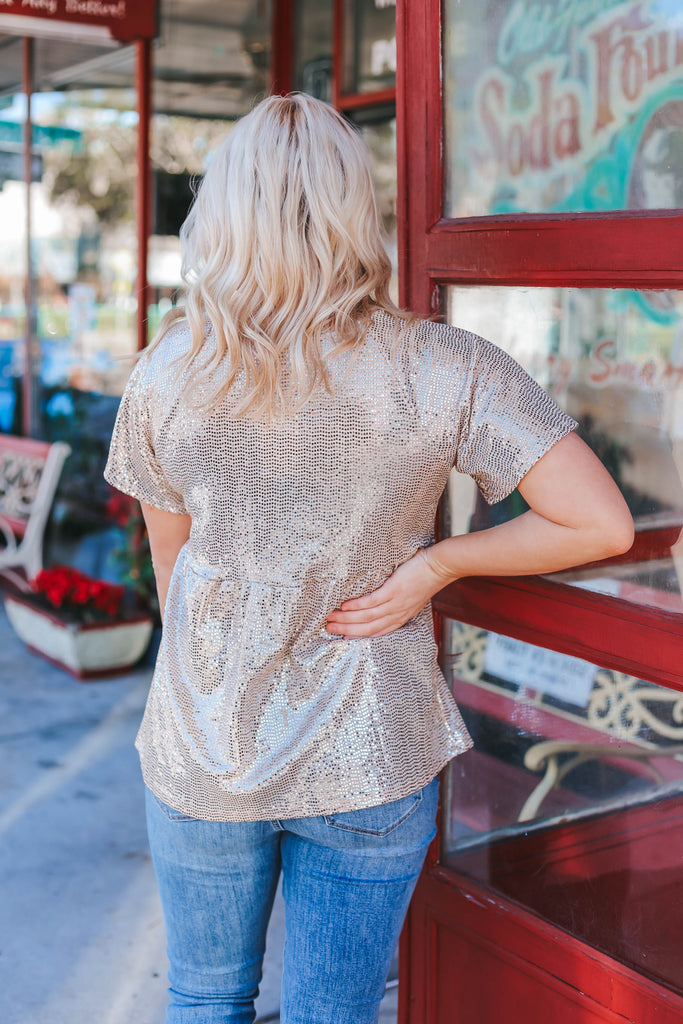 So Gorgeous Sequin Top - Champagne
