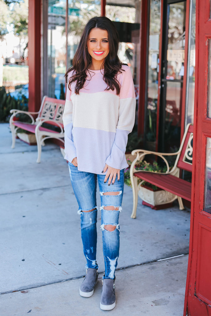 Carefree Color Block Tee - Pink Combo