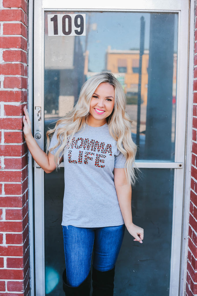 Momma Life Graphic Tee - Heather Grey