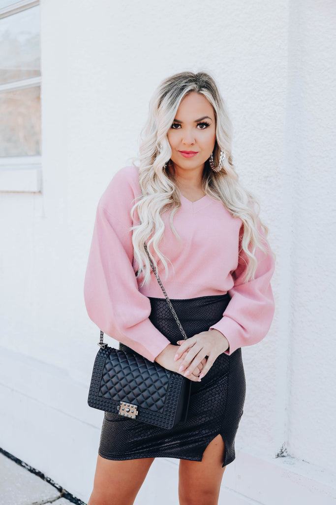 Concord Cropped Sweater - Pink