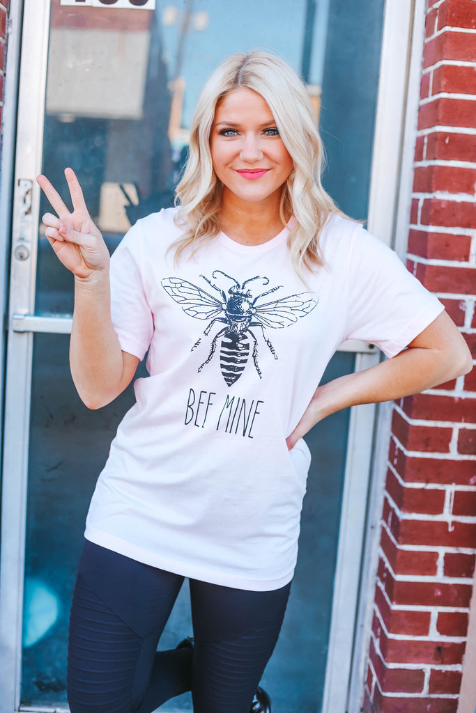 Bee Mine Graphic Tee - Pink