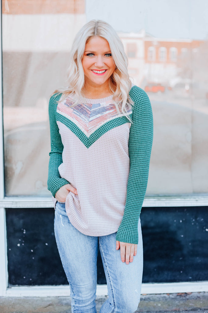 Painted Desert Top - Taupe/Green