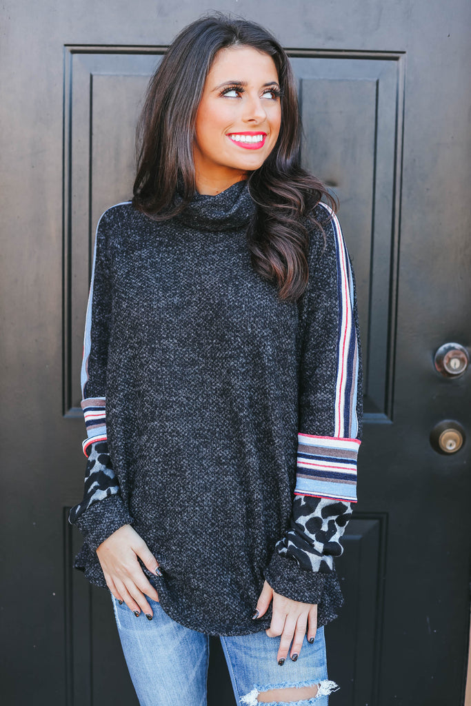 What About Us Top - Charcoal Multi